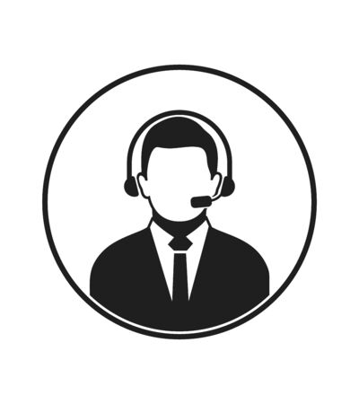 Call centre operator icon with headphone symbol. Flat style vector EPS.