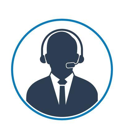 Customer Service Icon with headphone symbol. Flat style vector EPS.  イラスト・ベクター素材