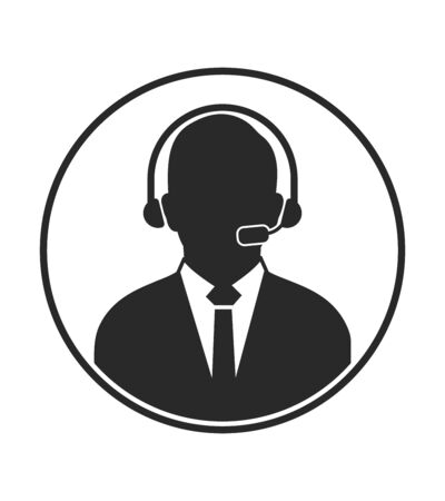 Customer Service Icon with headphone symbol. Flat style vector EPS. 일러스트