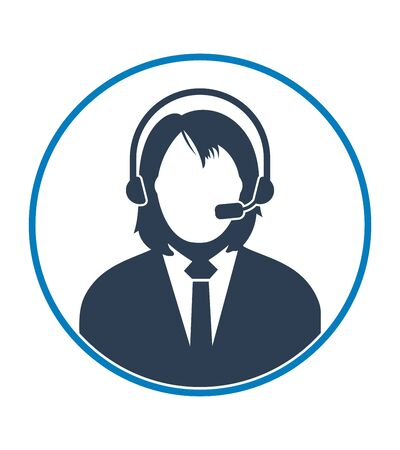 Female Customer Service Icon. Flat style vector EPS.  イラスト・ベクター素材