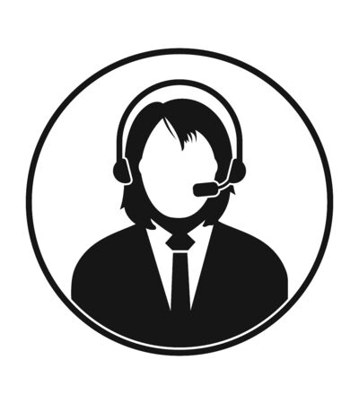 Female Customer Service Icon. Flat style vector EPS. 일러스트