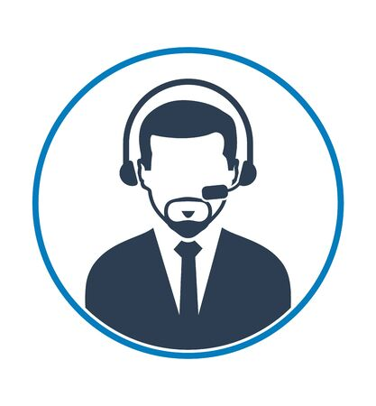 Call centre operator icon. Flat style vector EPS. 일러스트