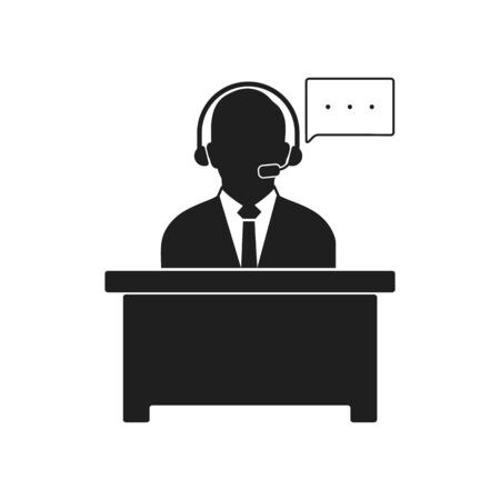 Customer help icon. Flat style vector EPS.
