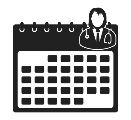 Female Doctor Appointment Icon . Flat style vector EPS.