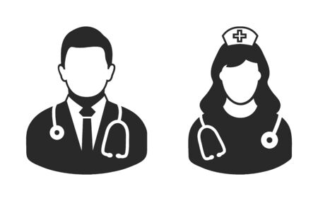 Male doctor and nurse icon. flat style vector eps.