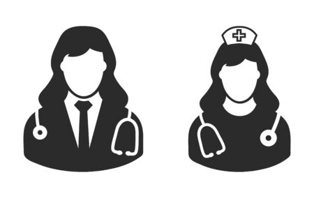 Female doctor and nurse icon. flat style vector eps.