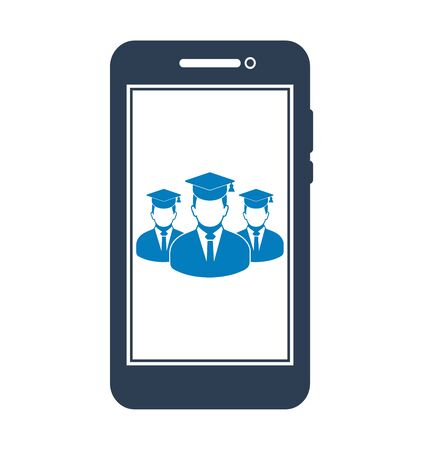 Online Learning Icon with graduate students on Mobile Screen Flat style vector EPS. 写真素材 - 131567030