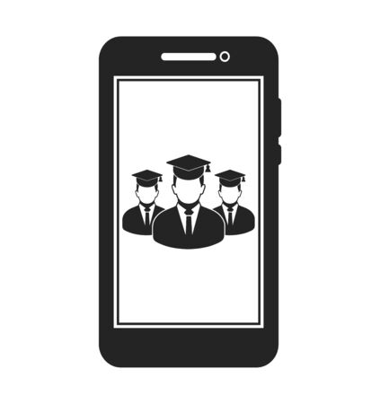 Online Learning Icon with graduate students on Mobile Screen Flat style vector EPS. 写真素材 - 131567031