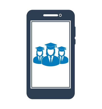 Online Learning Icon with graduate students on Mobile Screen Flat style vector EPS.