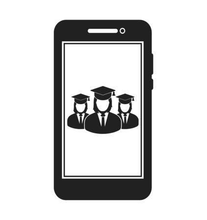 Online Learning Icon with graduate students on Mobile Screen. Flat style vector EPS. 写真素材 - 131567035