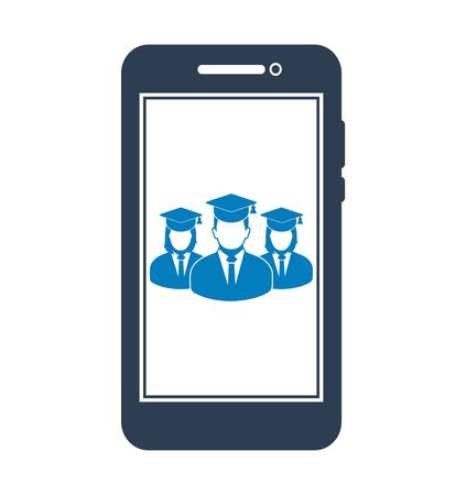 Online Learning Icon with graduate students on Mobile Screen Flat style vector EPS. 写真素材 - 131567036