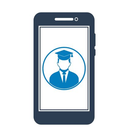 E Learning Icon. Graduate student symbol on Mobile screen. Flat style vector EPS. 写真素材 - 131567038