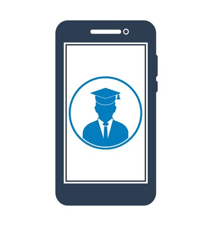 E Learning Icon. Graduate student symbol on Mobile screen. Flat style vector EPS. 写真素材 - 131567040