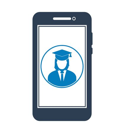 E Learning Icon. Graduate student symbol on Mobile screen. Flat style vector EPS. 写真素材 - 131567041