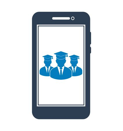 Online Learning Icon with graduate students on Mobile Screen. Flat style vector EPS.