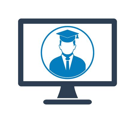 E Learning Icon. Graduate student symbol on Computer Monitor. Flat style vector EPS. 写真素材 - 131567044