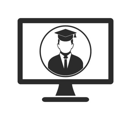 E Learning Icon. Graduate student symbol on Computer Monitor. Flat style vector EPS. 写真素材 - 131567045