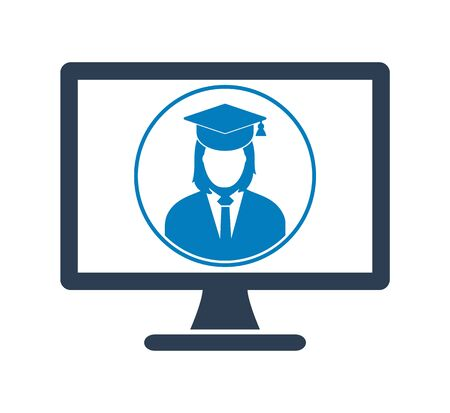 E Learning Icon. Graduate student symbol on Computer Monitor. Flat style vector EPS.
