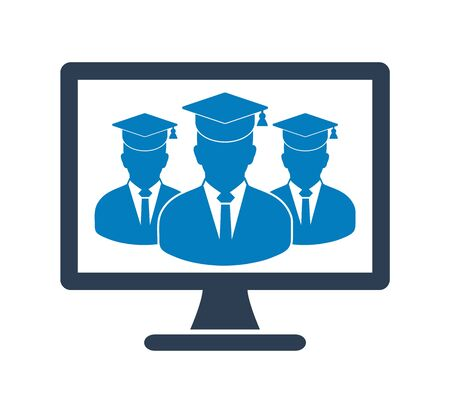Online Learning Icon with graduate students on Computer Monitor. Flat style vector EPS. 写真素材 - 131567050