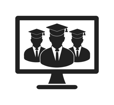 Online Learning Icon with graduate students on Computer Monitor. Flat style vector EPS. 写真素材 - 131567051