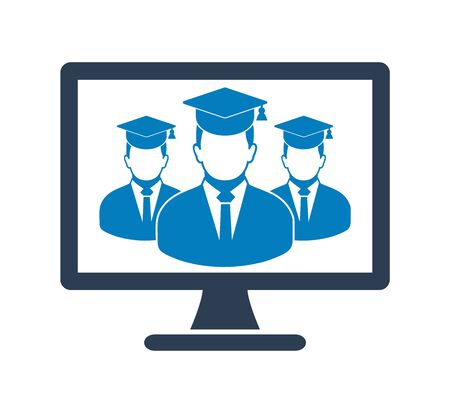 Online Learning Icon with graduate students on Computer Monitor. Flat style vector EPS.