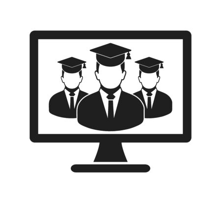 Online Learning Icon with graduate students on Computer Monitor. Flat style vector EPS. 写真素材 - 131567053