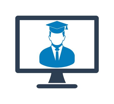 E Learning Icon. Graduate student symbol on Computer Monitor. Flat style vector EPS. 写真素材 - 131567058