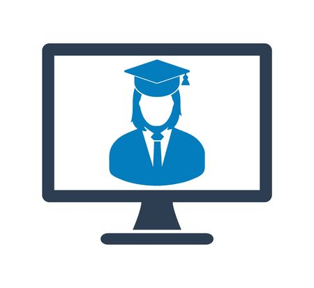 E Learning Icon. Graduate student symbol on Computer Monitor. Flat style vector EPS. 写真素材 - 131567062