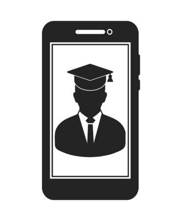 E Learning Icon. Graduate student symbol on Mobile screen. Flat style vector EPS. Ilustração
