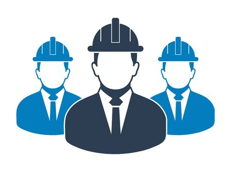 Male Engineer Team Icon. Flat style vector EPS.