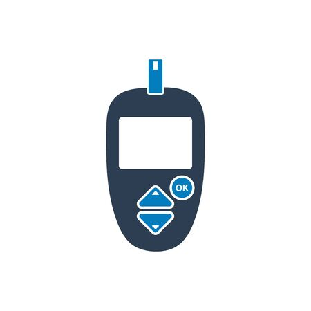 Glucose meter icon with strip symbol. Flat style vector EPS.
