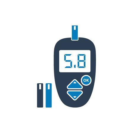 Icono de medidor de glucosa digital con símbolo de tira. EPS vectoriales de estilo plano.