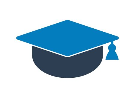 Graduation Cap Icon. Flat style vector EPS.