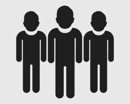 User Team Icon. Standing Male symbols on gray background. Flat style vector EPS.