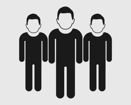 Team work Icon. Standing Male symbols on gray background. Flat style vector EPS. Иллюстрация