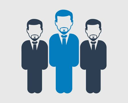 Business Team Icon. Standing Male symbols on gray background. Flat style vector EPS. Иллюстрация