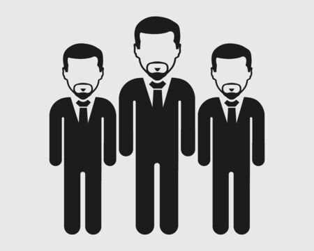 Business leader Icon. Standing Male symbols on gray background. Flat style vector EPS.