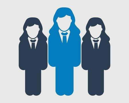 Corporate team Icon. Standing female symbols on gray background. Flat style vector EPS.