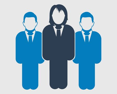 Business team Icon. Standing Male and female symbols on gray background. Flat style vector EPS. Иллюстрация
