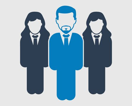 Corporate team Icon. Standing Male and female symbols on gray background. Flat style vector EPS. Иллюстрация