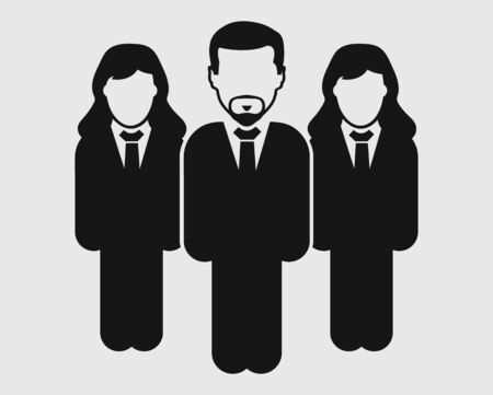 Corporate Team Icon. Male and female symbol on gray background. Flat style vector EPS.