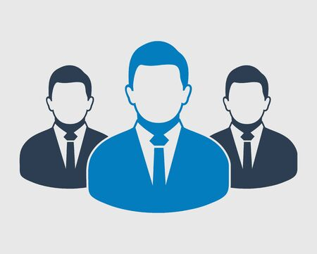 Corporate Team Icon. Employees behind the leader.