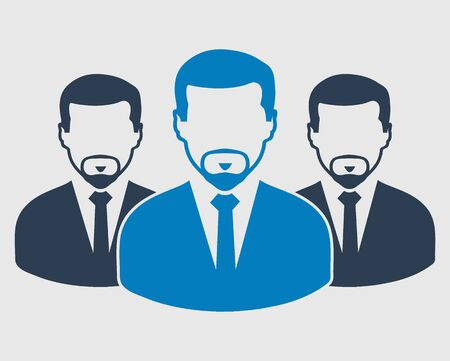 Corporate Team Icon. Employees behind the leader. Flat style vector EPS. Иллюстрация