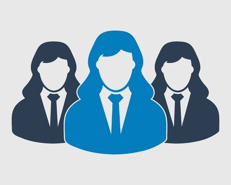 Business Team Icon. Employees behind the leader. Flat style vector EPS. Иллюстрация