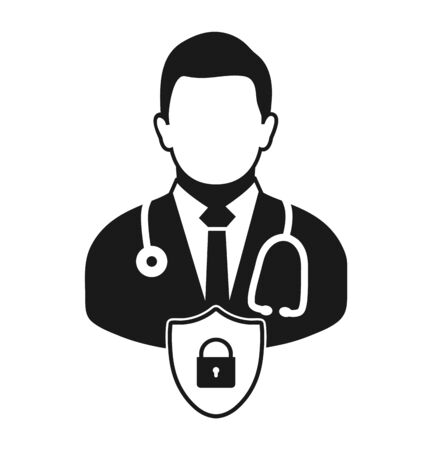 Medical and health insurance icon. Flat style vector EPS. Çizim