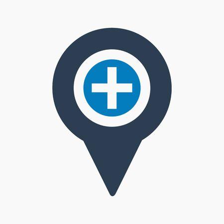 Hospital location icon. Flat style vector EPS.