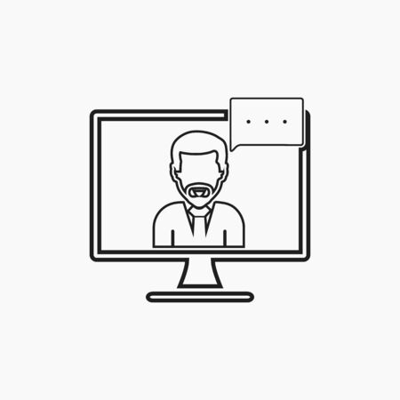 Online business support icon with female symbol and computer monitor sign. Line style vector EPS.