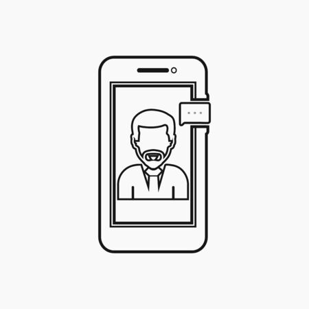Online business support icon with female symbol and mobile sign. Line style vector EPS.  イラスト・ベクター素材