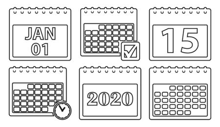 Calendar Icon set. line style vector EPS
