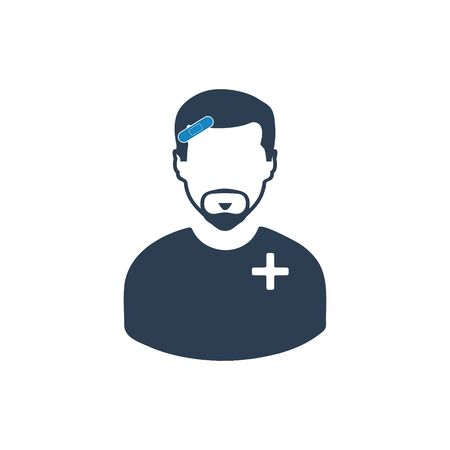 Injured man icon. Flat style vector EPS.